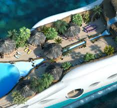 tropical island paradise yauct with waterfall on it cruise ship of the future 3 on
