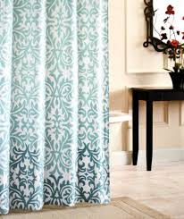 nicole miller fabric shower curtain damask ombre aqua blue teal