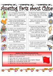 worksheet amazing facts about china reading comprehension