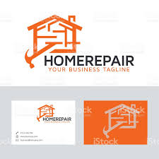 home repair vector logo with business card template stock vector