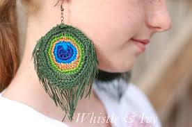 how to make feather earrings with crochet peacock feather earrings whistle and