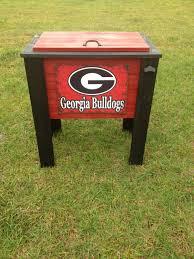georgia bulldogs painted wood cooler