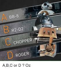 R2d2 Memes - bb 8 r2 d2 chopper roger abc or d oz bb 8 meme on me me
