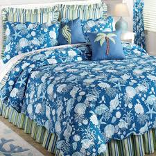 Seashell Queen Comforter Set Bedroom White Polished Oak Wood Single Bed Using White Blue Beach