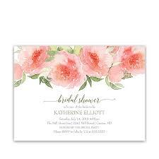 coral peach watercolor floral bridal shower invitations