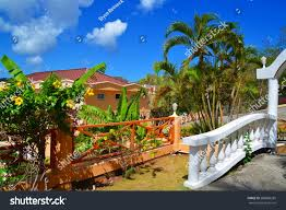 beautiful hotel resort over grand anse stock photo 288680285