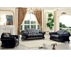 Livingroom Set Black Living Room Set In Classic Style Versace Esfveset