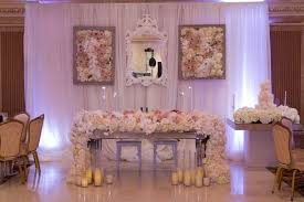 reception décor photos sweetheart table with waterfall runner