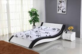 White Leather Bedroom Furniture White Leather Bed With Genuine Leather King Size Soft Bed Modern