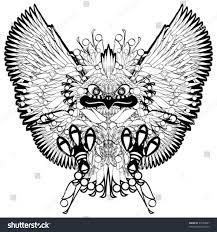tribal owl tattoo owl tribal tattoo black white vector stock vector 93154867