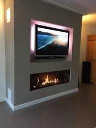 element modern linear fireplace withtvabove element modern linear
