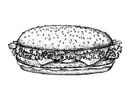 sketch hamburger or burger vector logo design template fast food