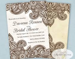 henna invitation ethnic design card baby shower card bridal shower card