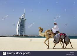 view on the burj al arab from the souk madinat in dubai stock
