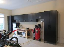 bathroom in garage black cabinets for a motorcycle garage