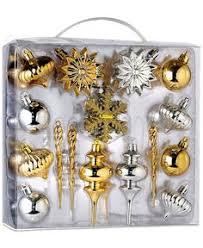 fashion gold black shatterproof ornament set 40ct