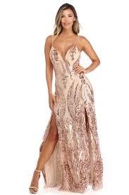 alexa rose gold sequin scroll print dress