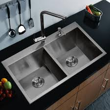kitchen double sink with stainless modern faucets kitchen also