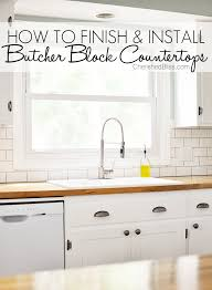 How To Install Kitchen Countertops by How To Finish And Install Butcher Block Countertop Cherished Bliss