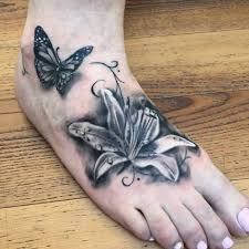 grey ink flower and butterfly on right by