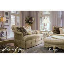 Aico Living Room Sets Michael Amini Lavelle Blanc Wood Trim Settee Loveseat By Aico For