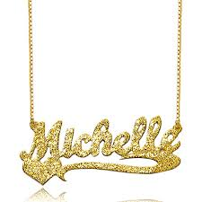 Gold Chain With Name Name Necklace 18 K Gold Sterling Silver Sparkling Heart Custom