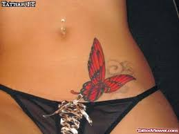 groin red butterfly women tattoo on hip tattoo viewer com