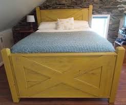 bed frame made from wood mustard yellow griffin furniture