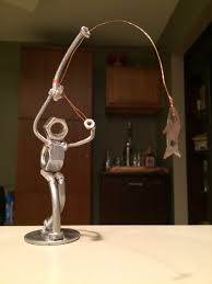 fly fishing home decor fly fisherman made from nuts and bolts ideas diy pinterest