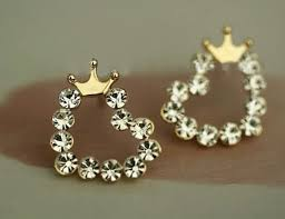 swag earrings jewels earrings diamonds princess crown pink gold ring