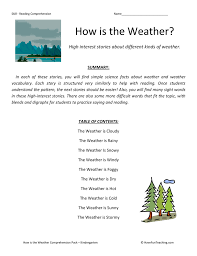 how is the weather reading comprehension test collection