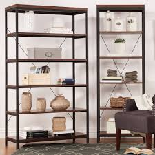 tribecca home somme rustic metal frame 6 tier bookshelf media