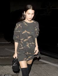 bella hadid does military chic in camouflage dress on date with