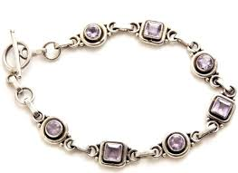 silver bracelet with stones images Sterling silver bracelet with amethyst stones 7 quot JPG