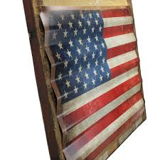 Texas Flag Decor American Flag Distressed Framed Corrugated Metal Sign Patriotic
