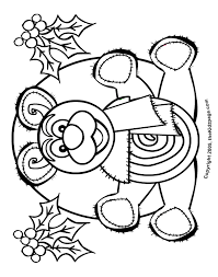 christmas teddy bear free coloring pages kids printable