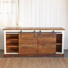 Media Cabinet With Sliding Doors Redford Yorkville Brown Planks Sliding Door Console