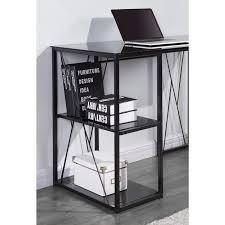 bureau metal et verre bureau en métal plateau et étagere en verre trempé noir l 110 cm