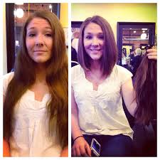 before and after chopped long hair to short hair diagonal