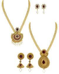 gold haram sets zaveri pearls set of two antique gold haram necklace set zpfk6015