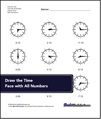 telling analog time worksheets full half quarter five minute