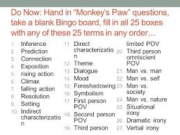 do now hand in u201cmonkey u0027s paw u201d questions take a blank bingo board