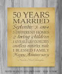 anniversary gifts personalized 50th anniversary gift golden anniversary 50 years personalized