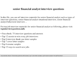 senior financial analyst interview questions