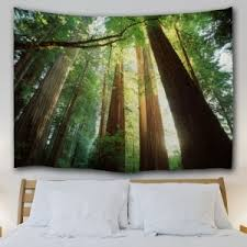 tapestry home decor green w71 inch l91 inch home decor wall hanging sunshine forest