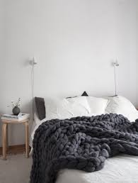 Dark Cozy Bedroom Ideas Cozy Scandinavian Style Bedroom With Super Chunky Dark Grey Banket