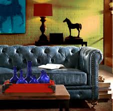 Traditional Tufted Sofa by Blue Leather Chesterfield Sofa Tufted Transitional Couch
