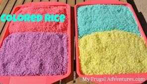 rice table for kids how to make colored rice color rice rice and child