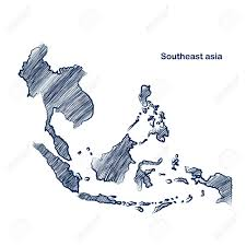 Map Southeast Asia by Southeast Asia Map Hand Drawn Background Royalty Free Cliparts