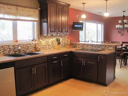 kitchen backsplash glass tile dark cabinets s